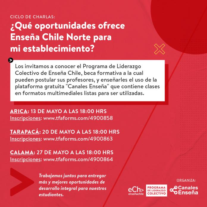 Enseña Chile Norte ofrece talleres gratuitos para comunidades escolares de las regiones de Arica, Tarapacá yAntofagasta